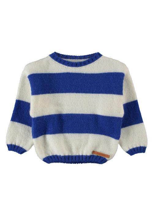 PiuPiuChick PiuPiuChick Knitted Sweater ecru & blue stripes