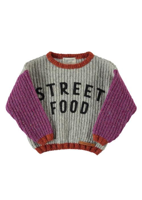 "PiuPiuChick PiuPiuChick Knitted Sweater light grey w/ pink sleeves & ""street food"" print"
