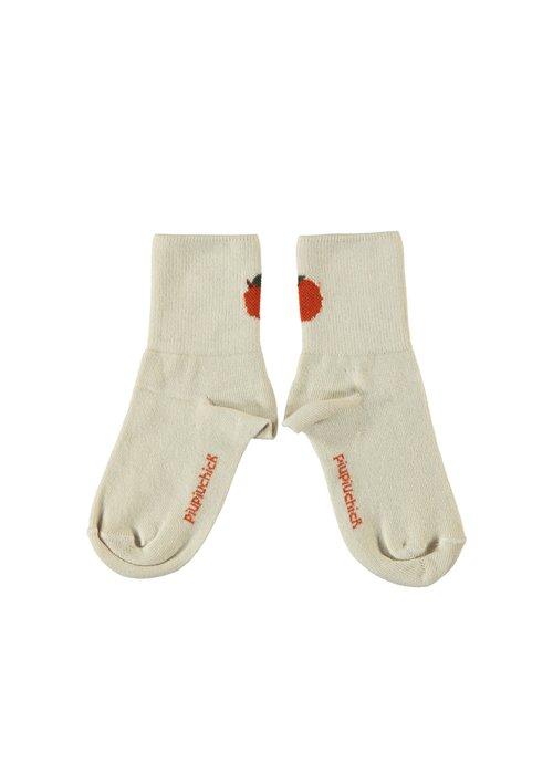 PiuPiuChick PiuPiuChick Short Socks ecru w/ peach detail