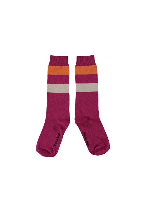 PiuPiuChick PiuPiuChick High Socks fuchsia w/ multicolor stripes