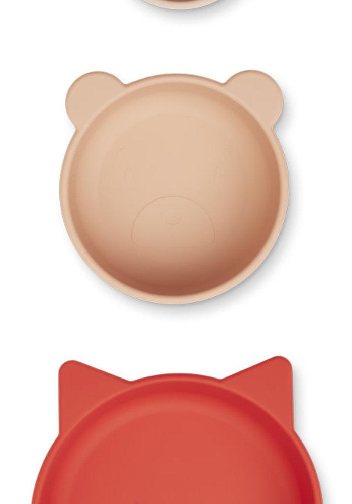 Liewood Eddie Bowls 3-pack Apple Red/Rose Multi Mix