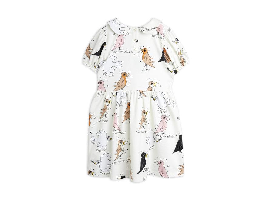 Mini Rodini Birdswatching aop puff sleeve dress Offwhite