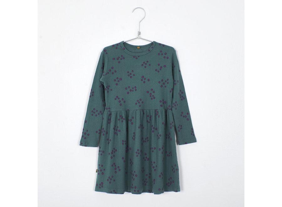 Lötiekids Dress Waist Seam Blueberries Green