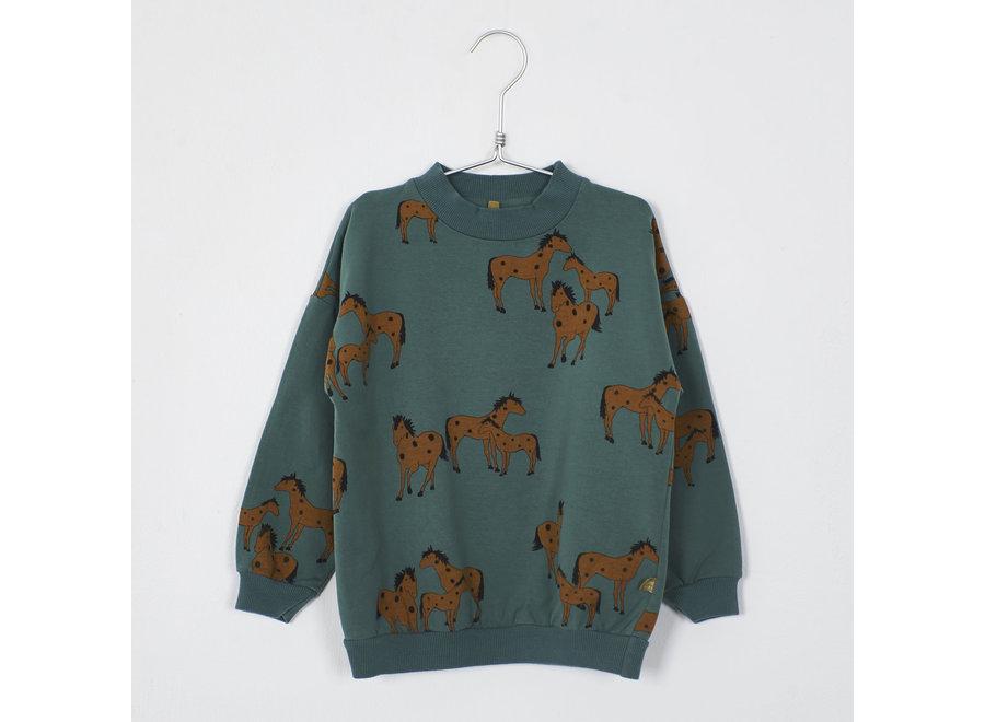 Lötiekids Sweatshirt Horses Green