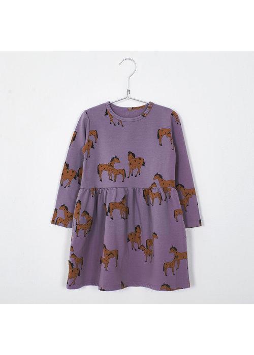 Lötiekids Lötiekids Dress Waist Seam Horses Lilac