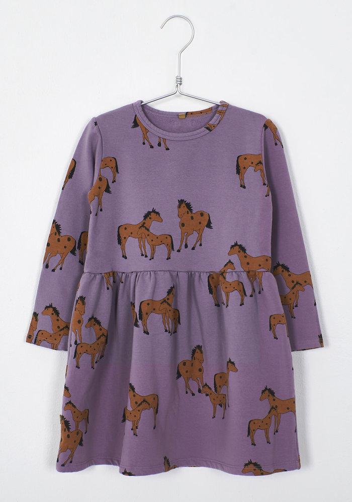 Lötiekids Dress Waist Seam Horses Lilac