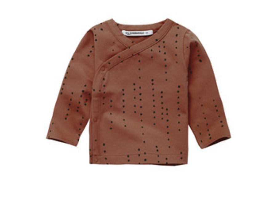 Mingo Wrap Top Dewdrops Burnished Leather Jersey