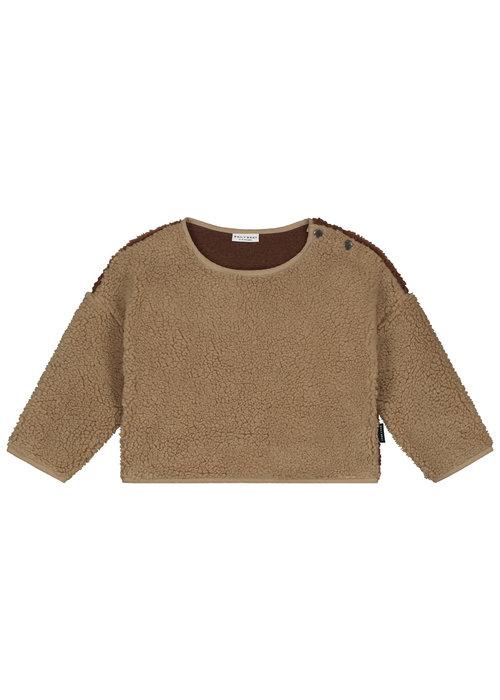 Daily Brat Daily Brat Teddy colour block sweater happy camel