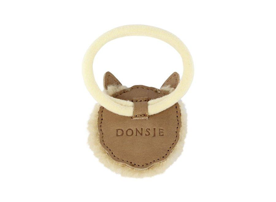Donsje Josy Exclusive Hair Tie Alpaca Beige Curly Faux Fur