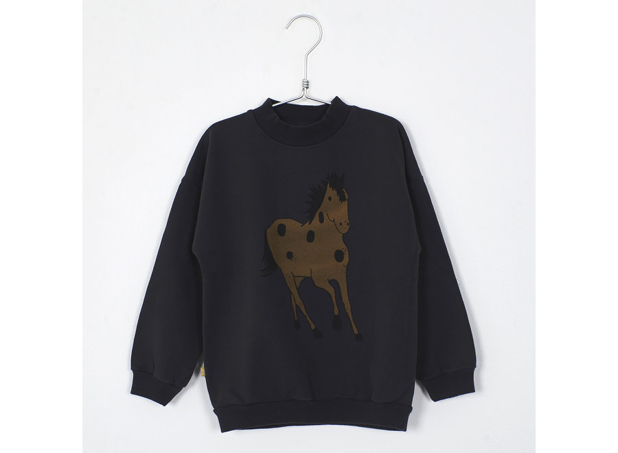 Lötiekids Sweatshirt Horse Vintage Black