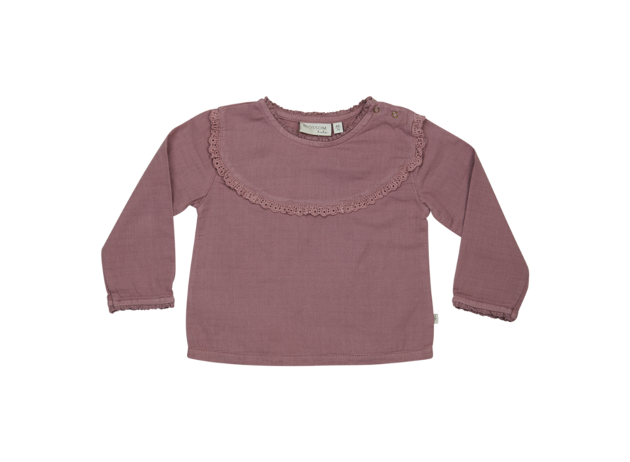 Blossom Kids Blouse With Lace Dusty Violet