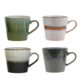 HK Living Ceramic 70's cappuccino mugs (set of 4)