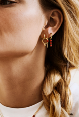Anna + Nina Single coral ring earring gold