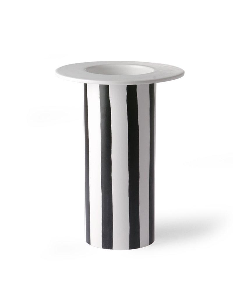 HK Living Vase black/white striped