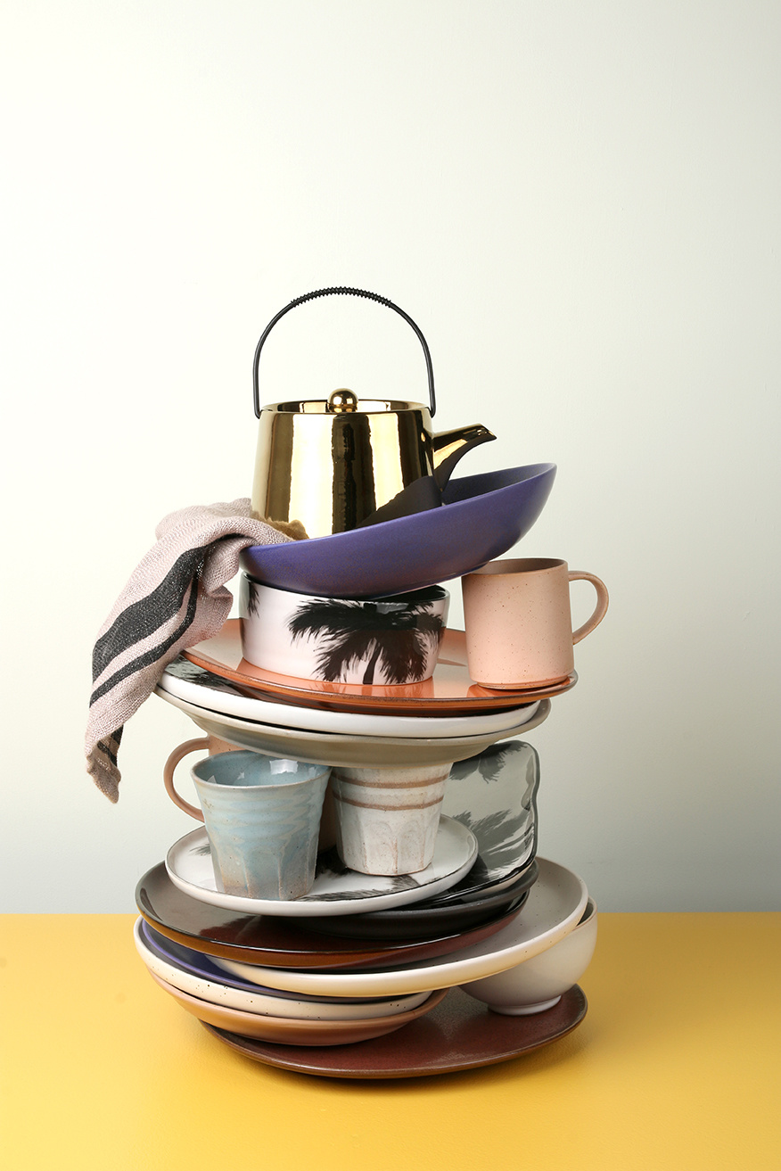 HK Living Bold & basic ceramics tea pot gold