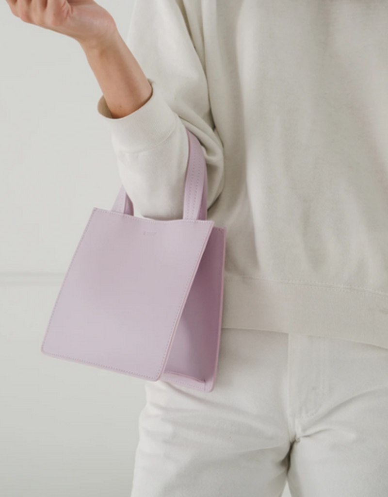 Baggu Small Leather Retail tote Pale Orchid