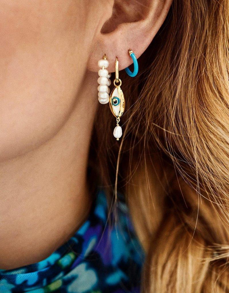 Anna + Nina Single Ring Earring Enamel Turquoise