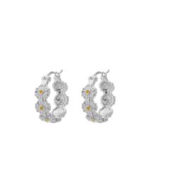 Anna + Nina Daisy Coloured Ring Earrings