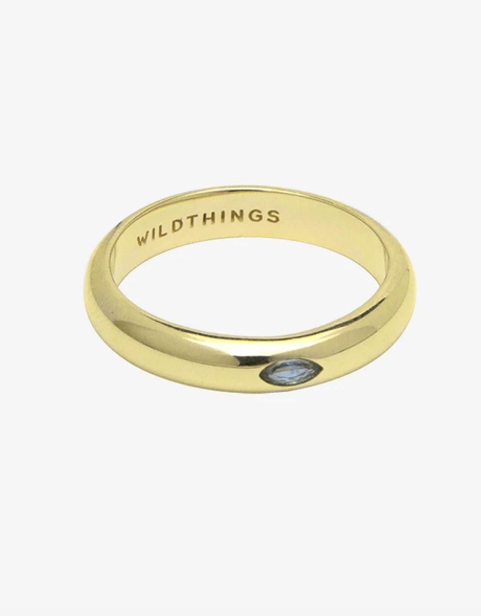 Wildthings Collectables Aquamarine Pebble ring gold - S