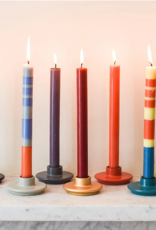 Designed in Colour Thin Striped dinner candles ( pack of 6 )