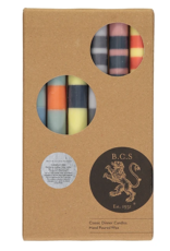 Designed in Colour Striped mixed dinner candles ( pack of 6 )