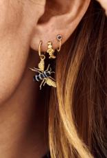 Anna + Nina Anna + Nina single zirconia stud chain ear navy gold