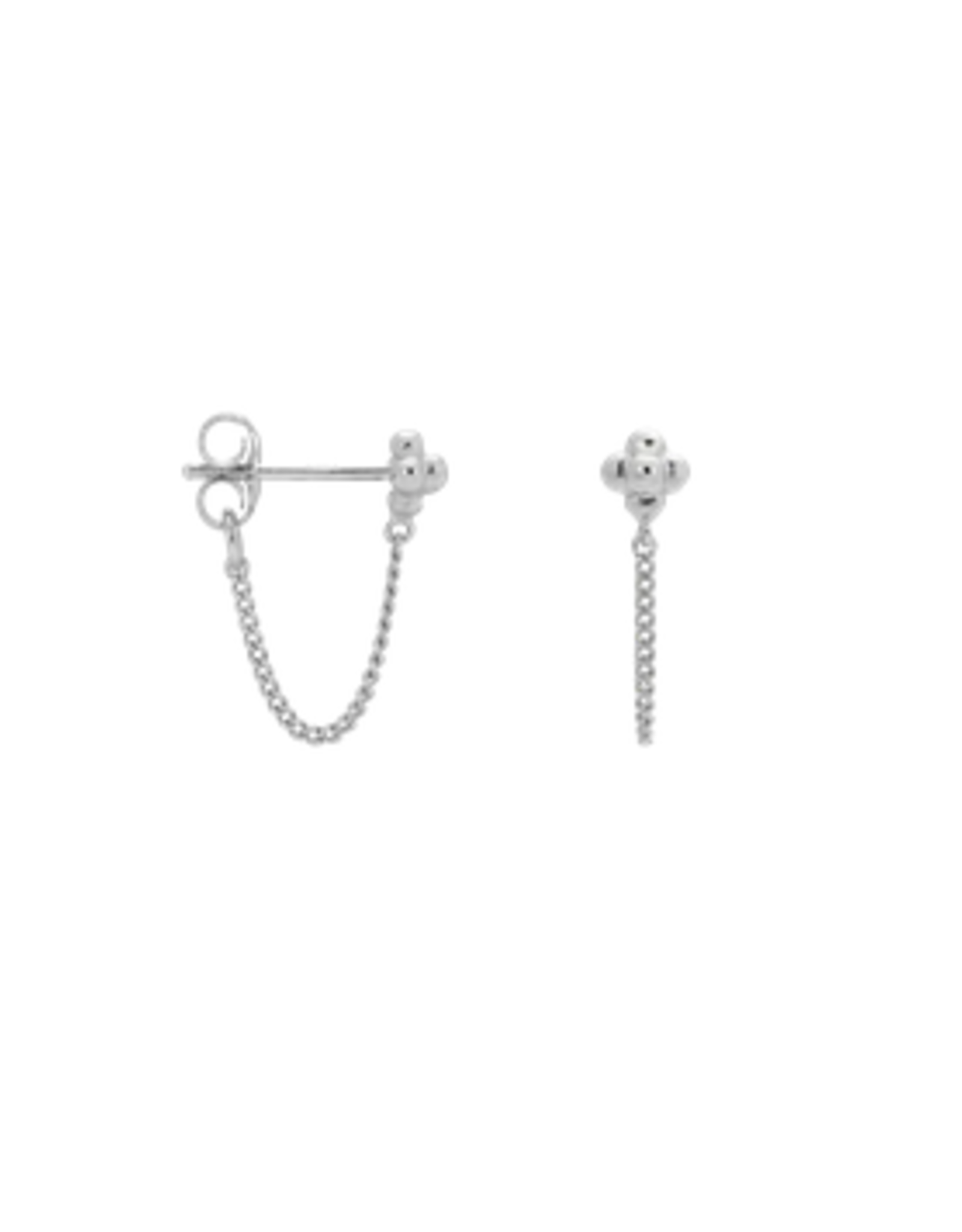 Anna + Nina Anna + Nina single blossom chain stud silver