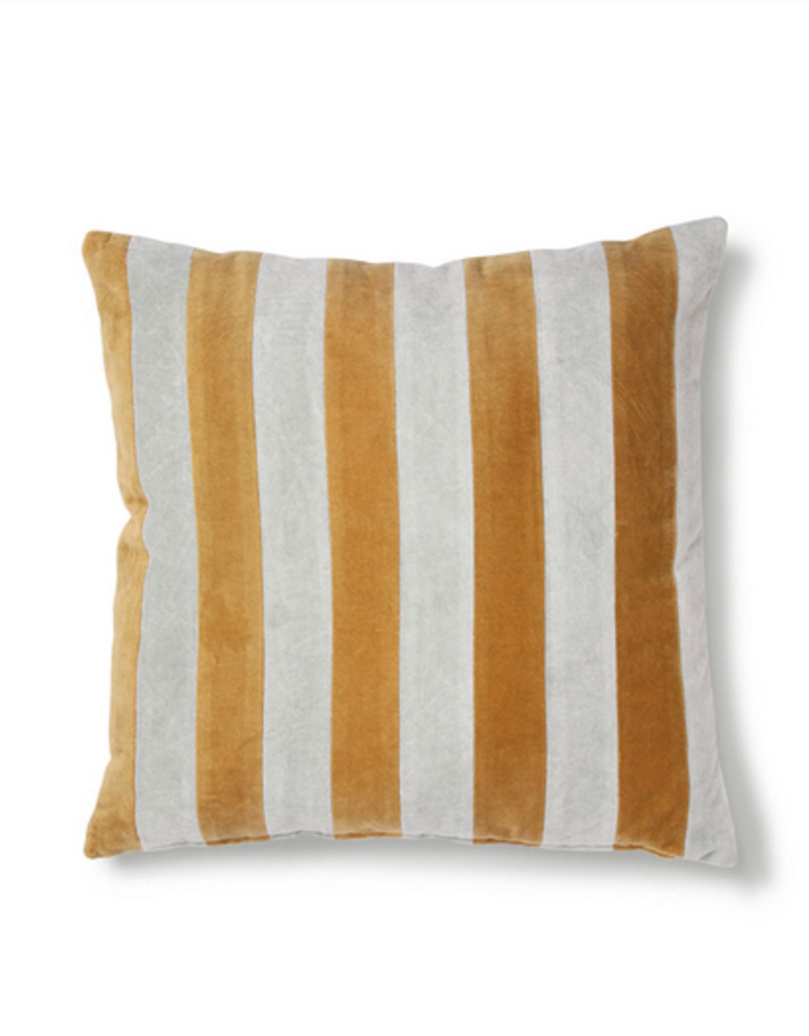 HK Living Striped cushion velvet grey/gold