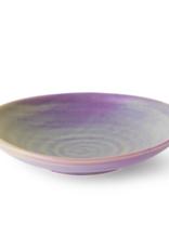 HK Living Home chefs ceramics flat bowl purple/green