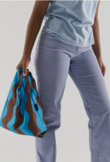 Baggu Baby reusable bag teal and brown wavy stripe