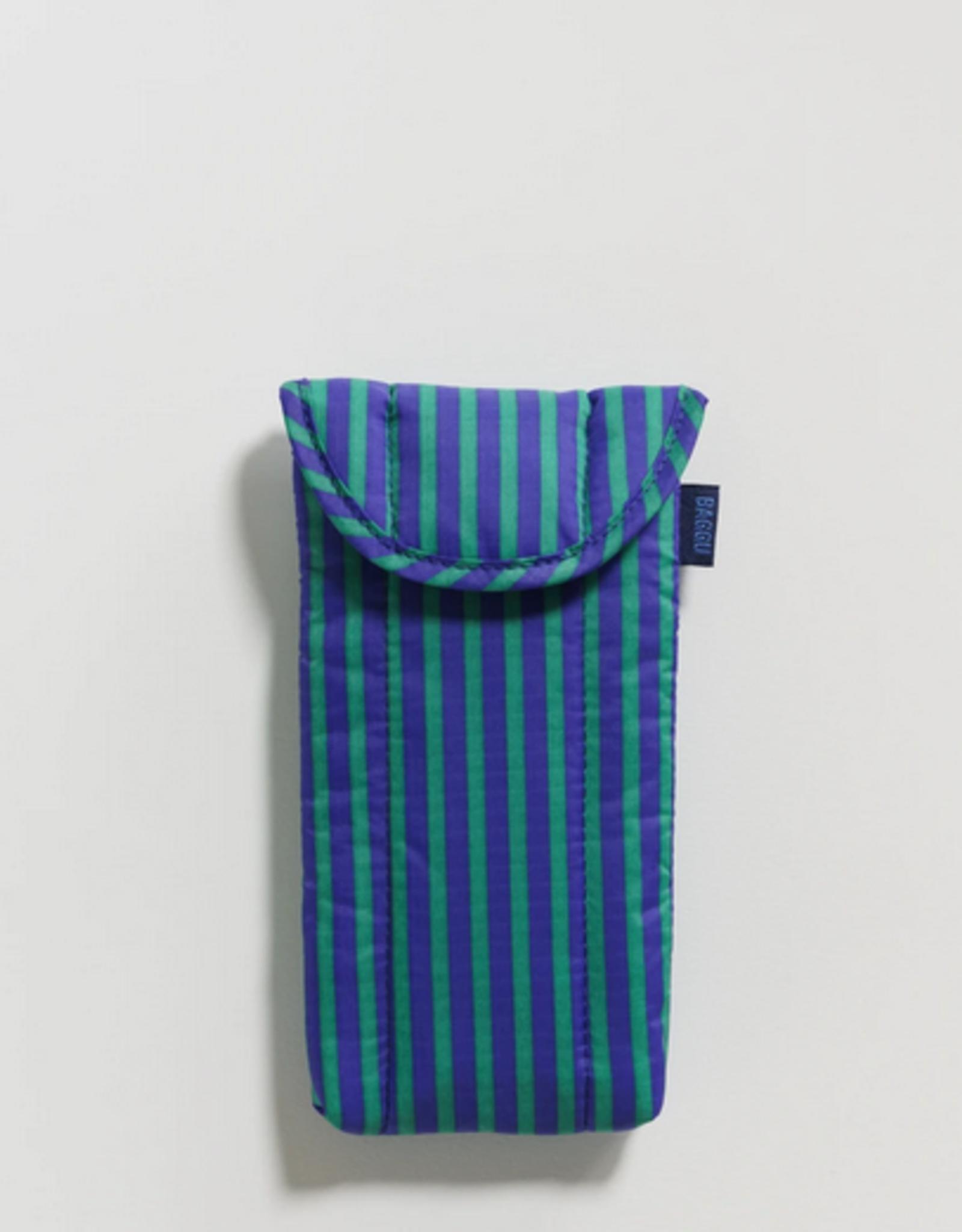 Baggu Puffy glasses case cobalt and jade stripe