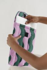 Baggu Puffy laptop sleeve pink and green wavy stripe 13 inch