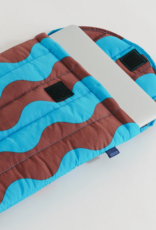 Baggu Puffy laptop sleeve teal and brown wavy stripe 13 inch