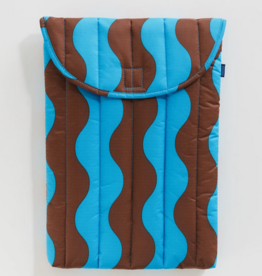 Baggu Puffy laptop sleeve teal and brown wavy stripe 16inch