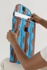 Baggu Puffy laptop sleeve teal and brown wavy stripe 16inch