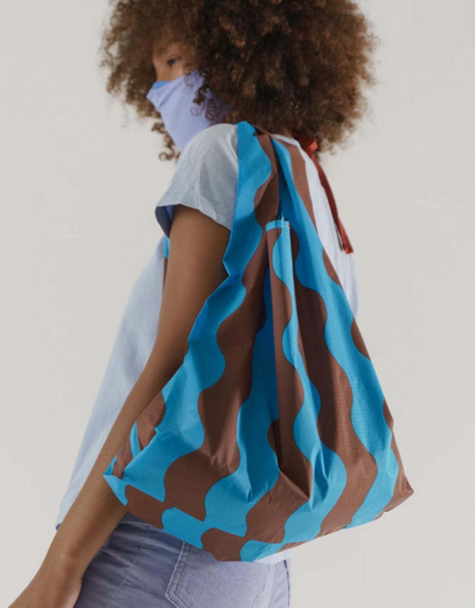 Baggu Standard reusable bag teal and brown wavy stripe