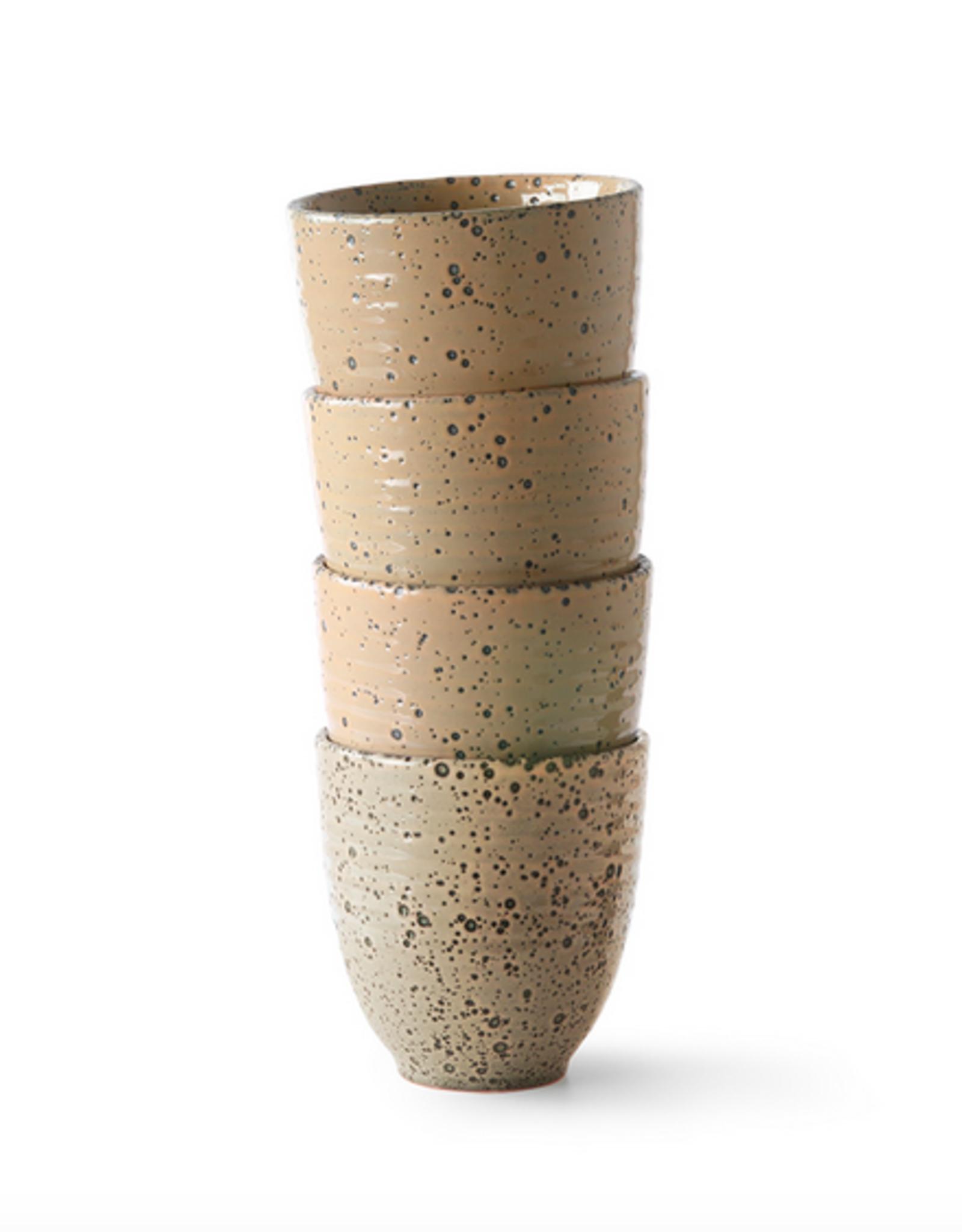 HK Living Gradient cermics: mug taupe ( set of 4 )