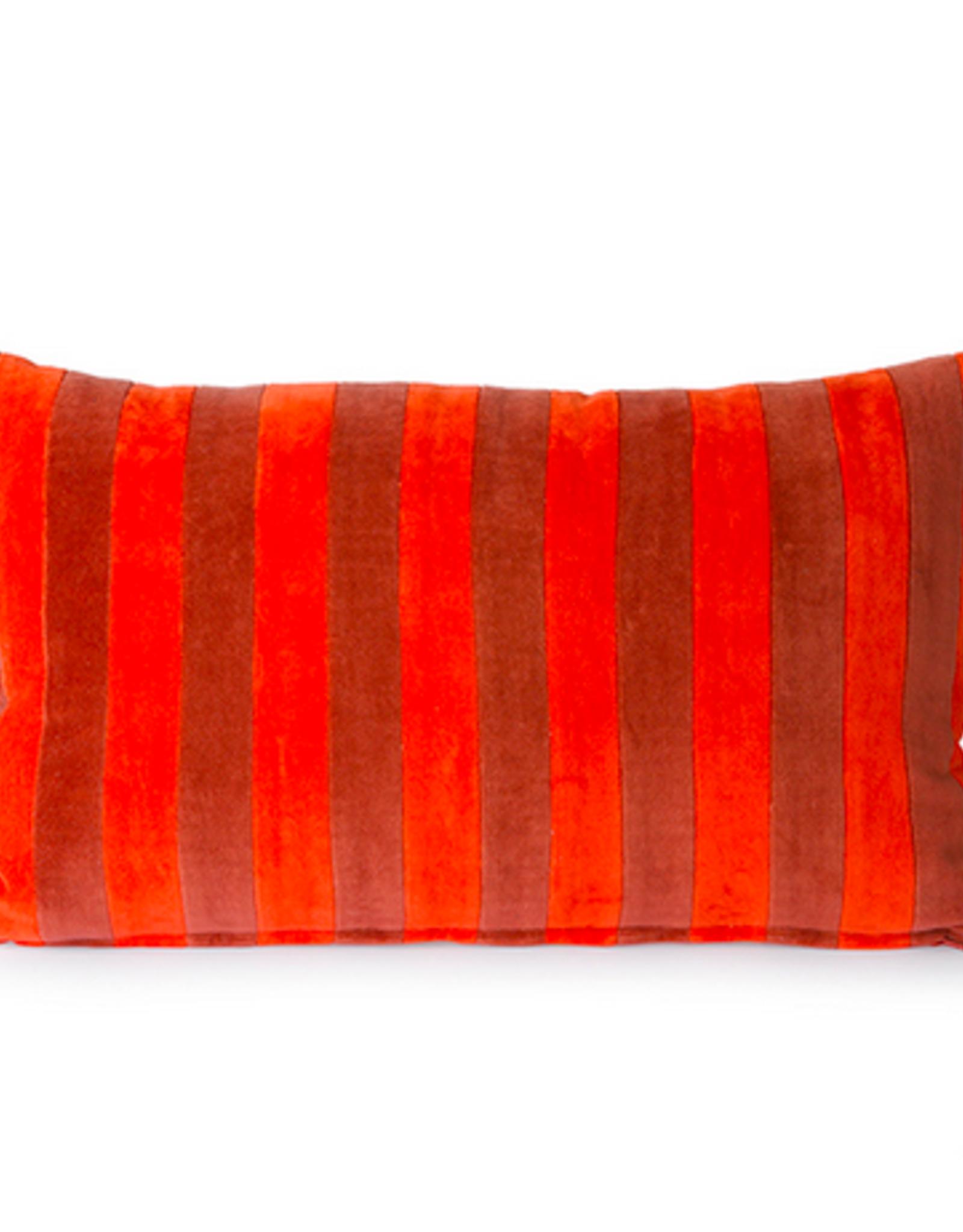 HK Living Striped velvet cushion red bordeaux (30x50)