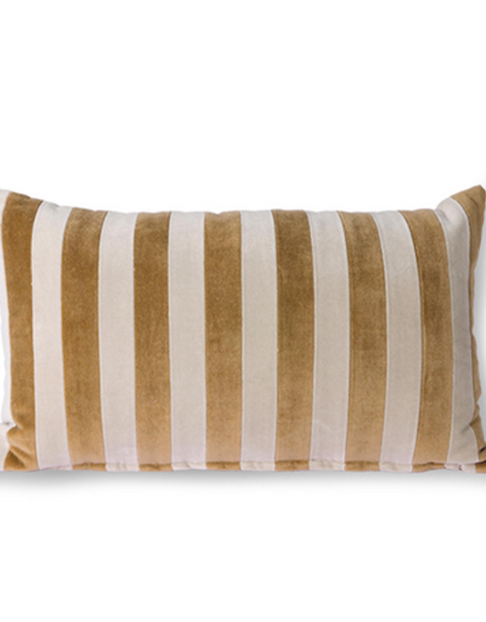 HK Living Striped velvet cushion brown natural (30x50)