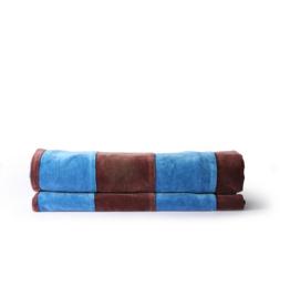 HK Living Striped bedspread velvet blue purple (150x240)