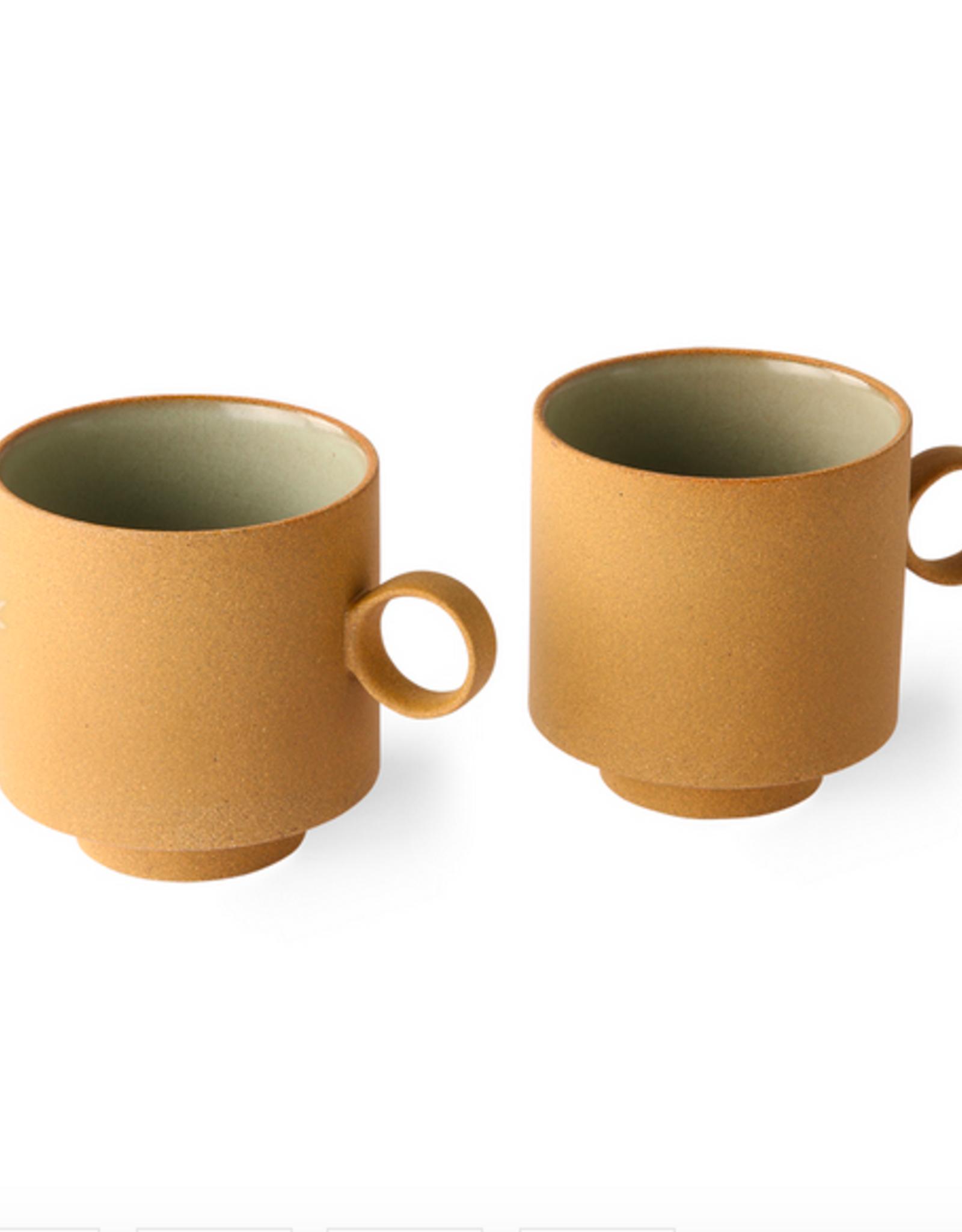 HK Living bold&basic ceramics: coffee mug ochre (set of 2)