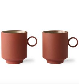 HK Living bold&basic ceramics: coffee mug terra (set of 2)