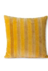HK Living striped velvet cushion ochre/gold