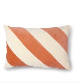 HK Living striped cushion velvet peach/cream