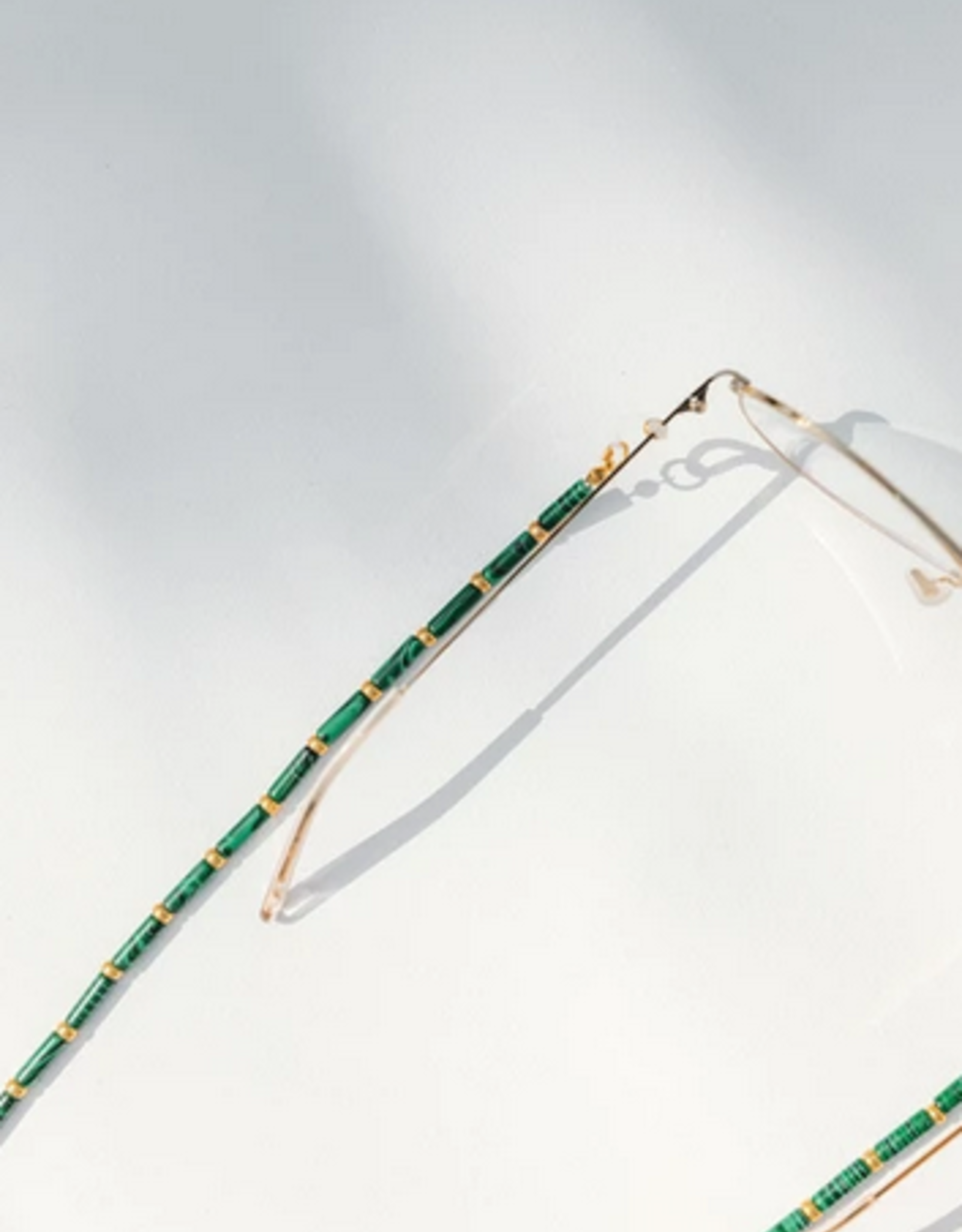 Coco Bonito Malachite rods with golden beads sunnycord