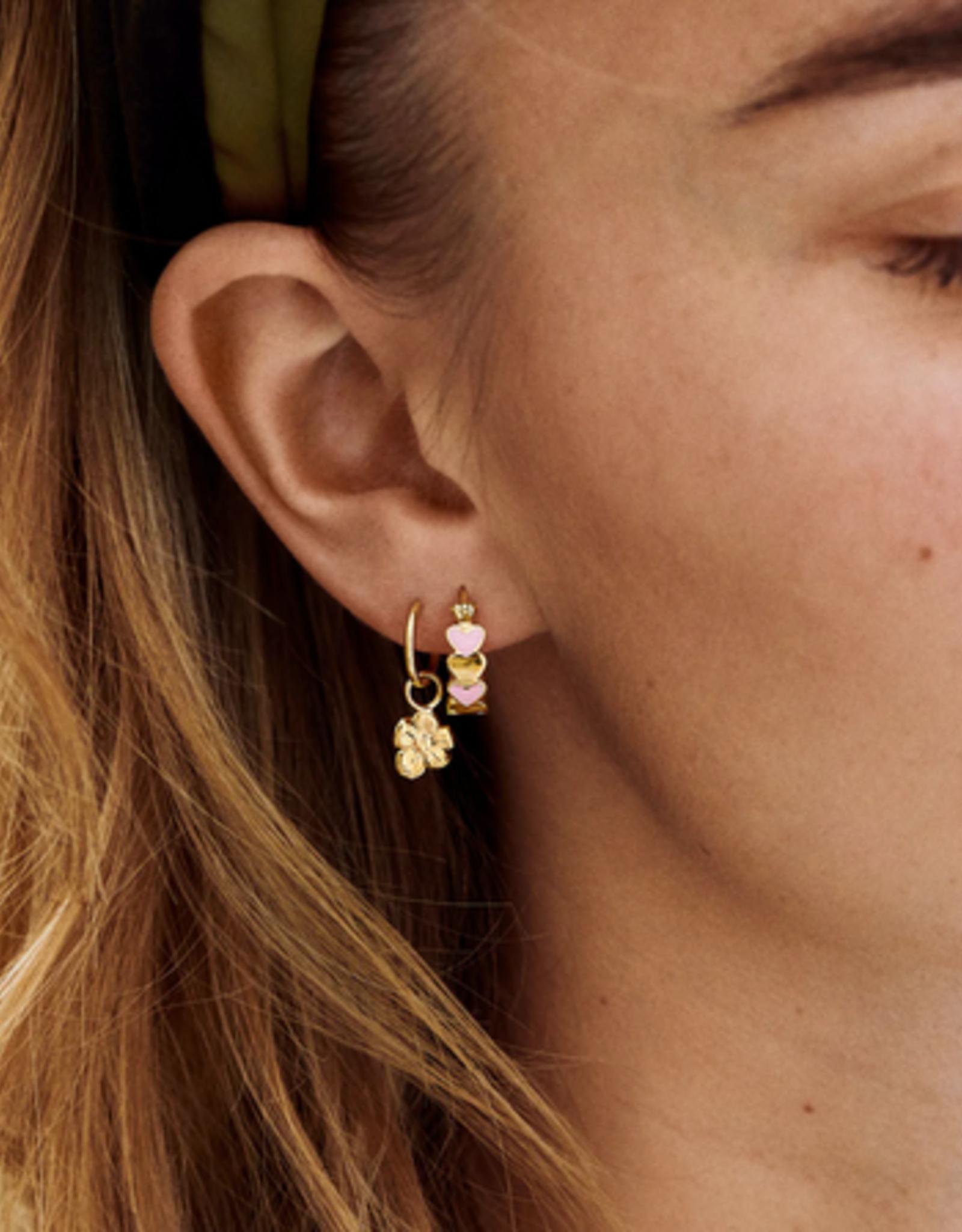 Anna + Nina Single soul flower ring earring goldplated silver