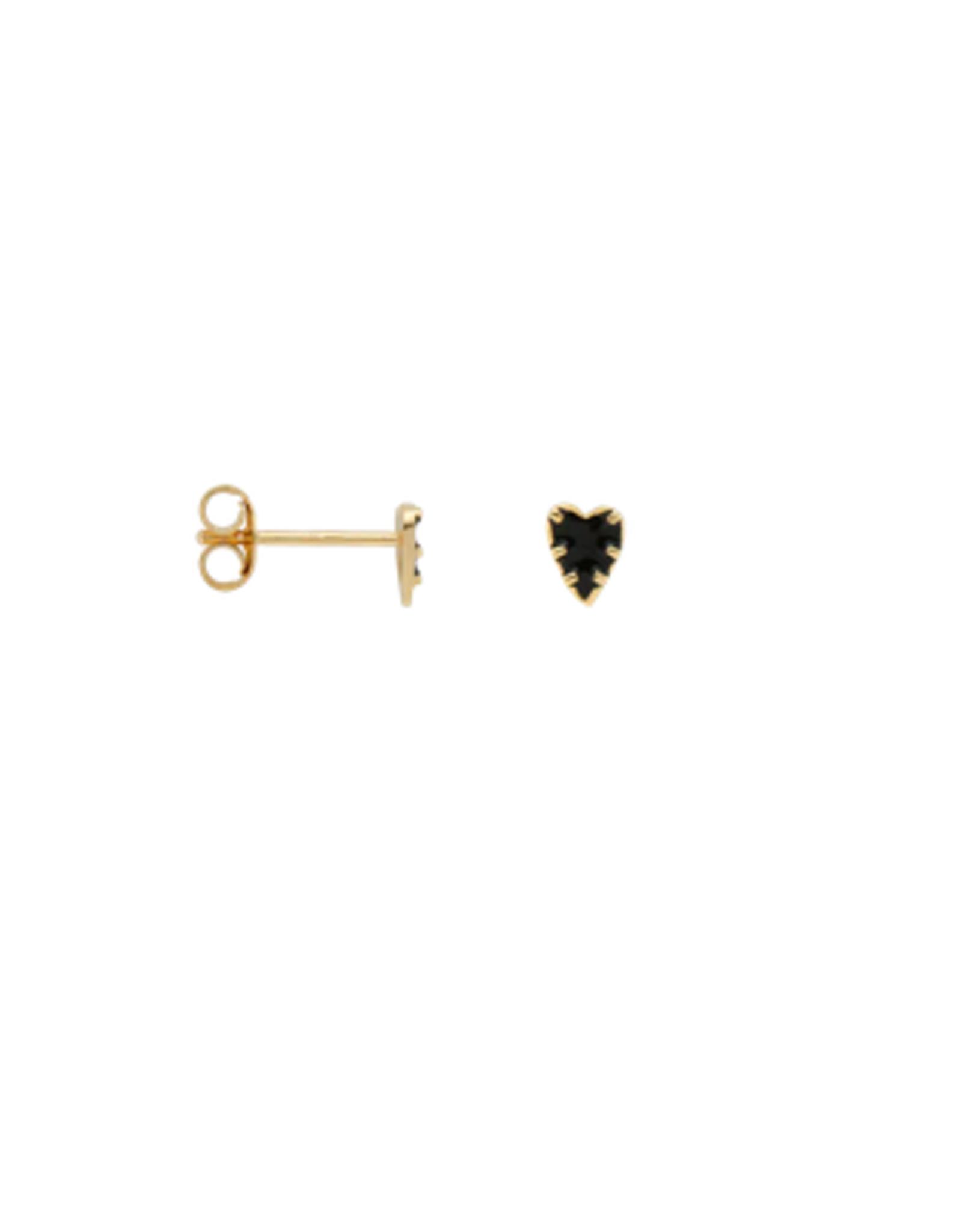 Anna + Nina single La muerta heart stud earring goldplated