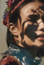 Anna + Nina Single soul flower stud earring silver goldplated