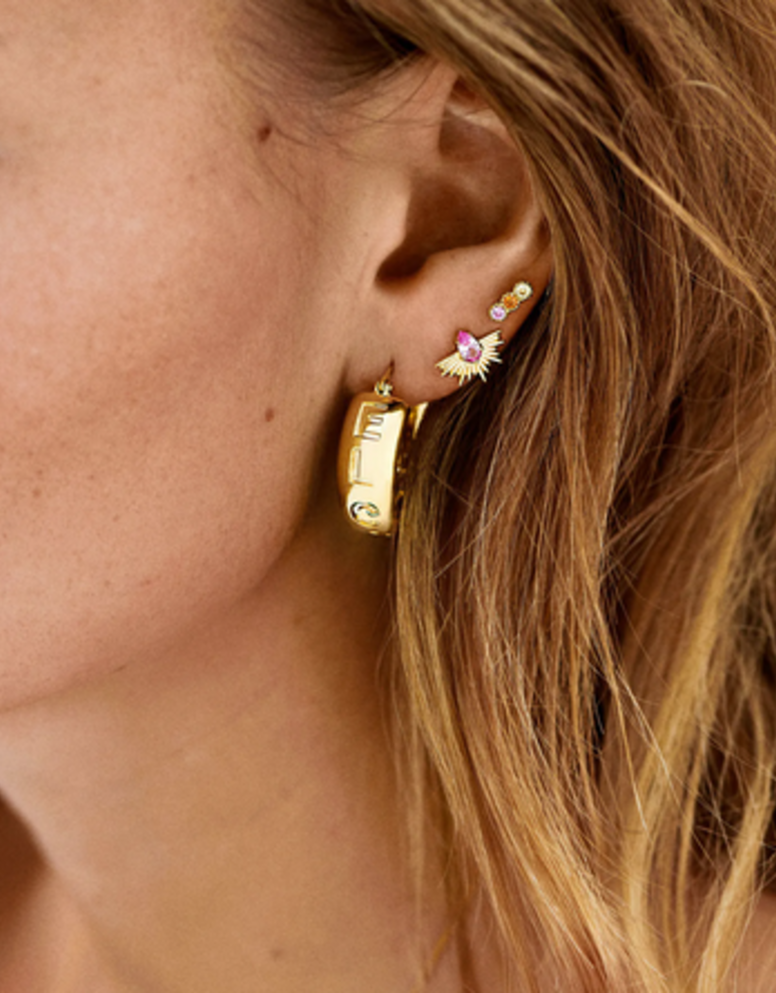Anna + Nina Single rising sun stud earring silver