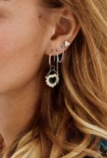 Anna + Nina Single triple pearl stud earring silver goldplated